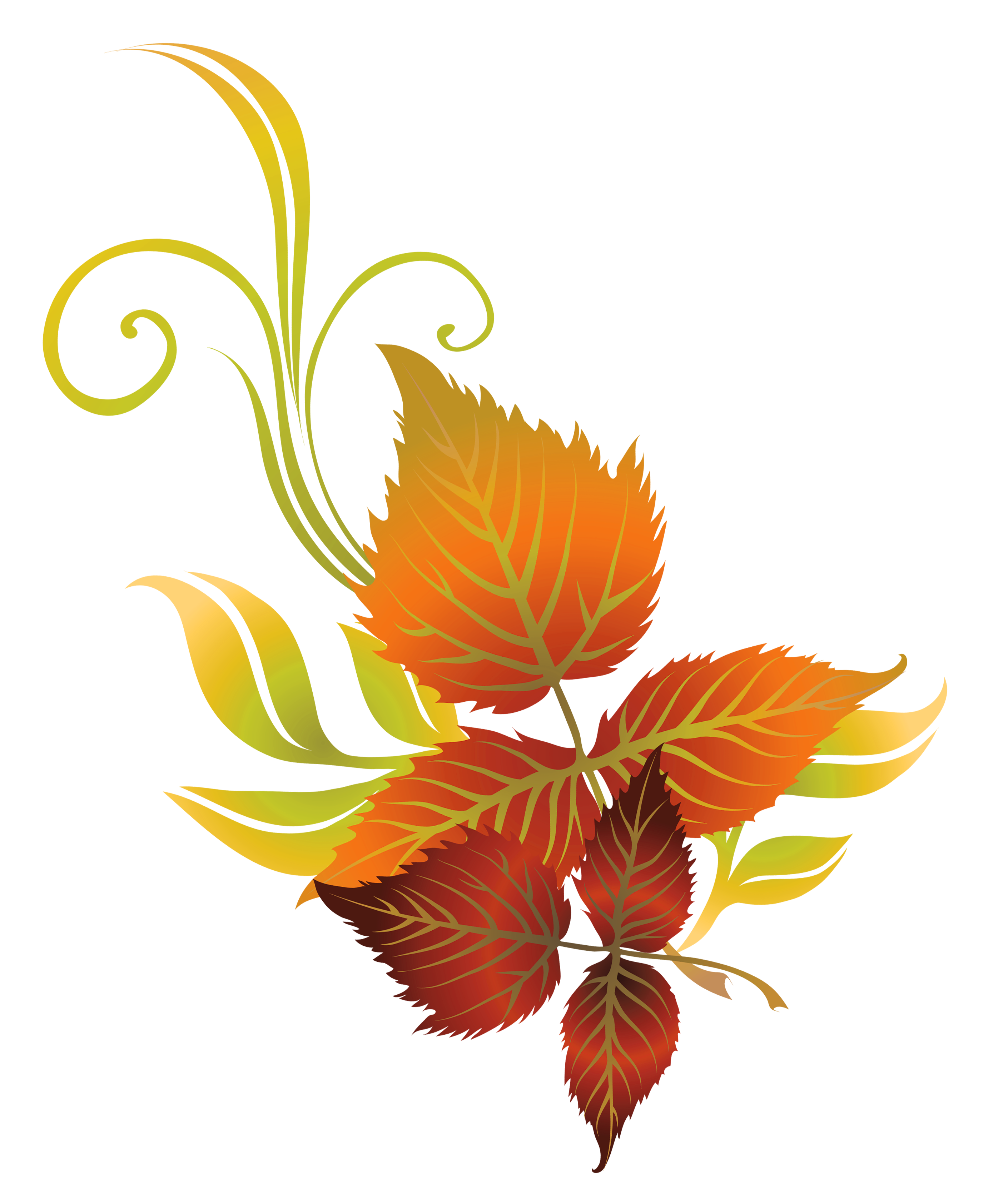 Leaves deco png picture. Clipart fall flower