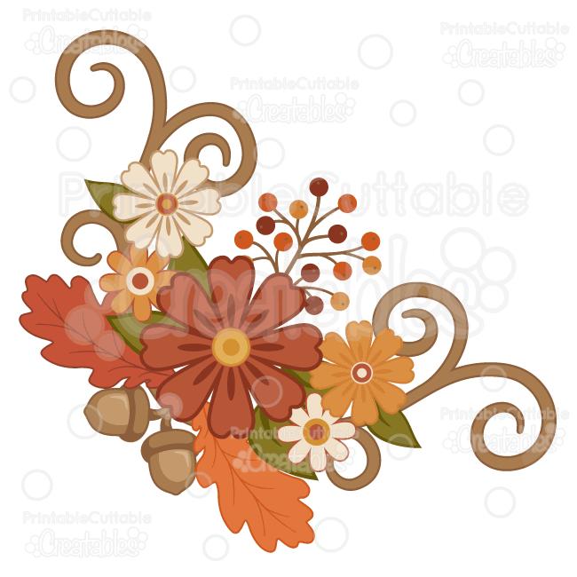 Clipart fall flower. Flourish group svg cut