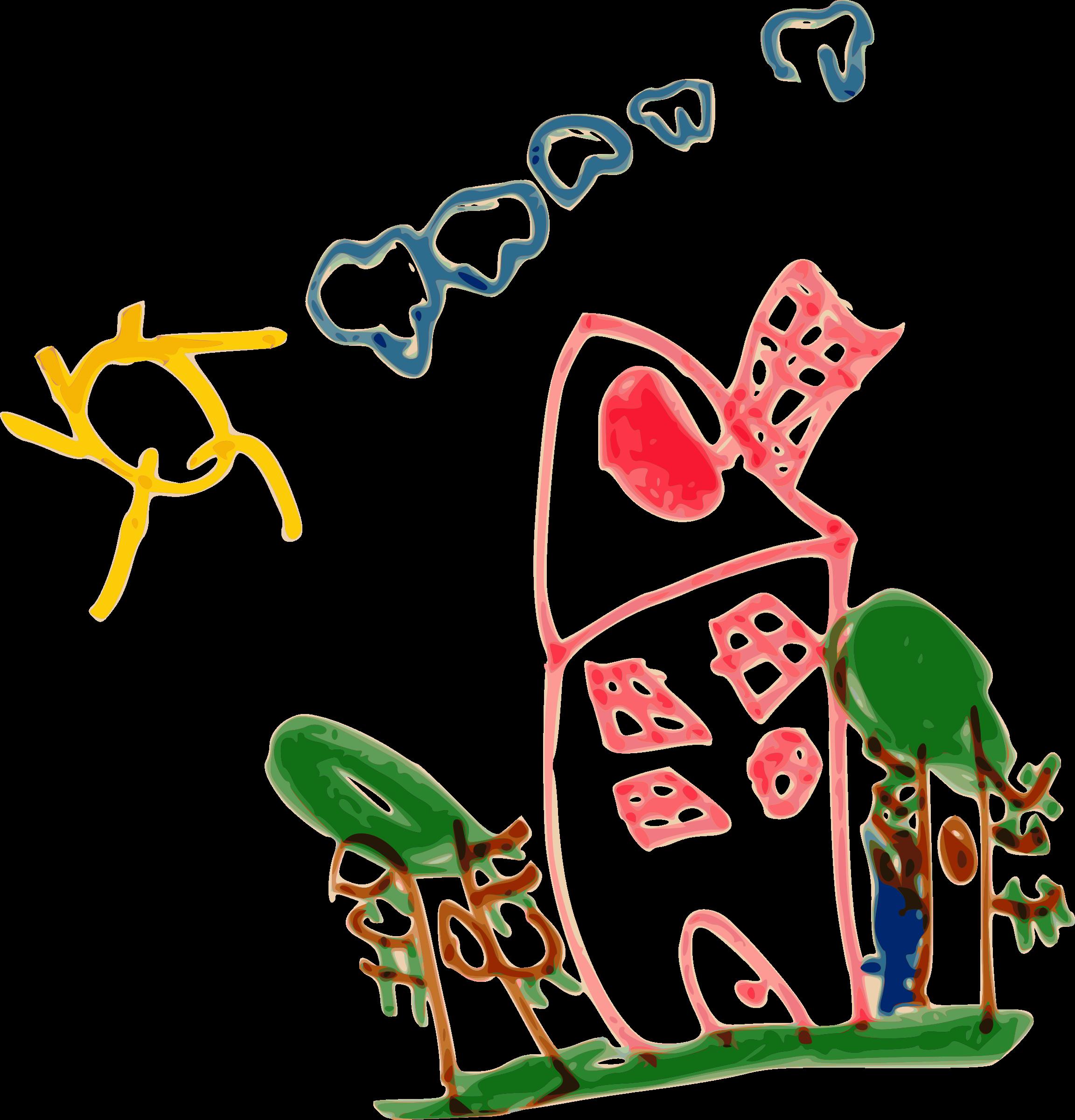 Kindergarten art and sun. Clipart house kid
