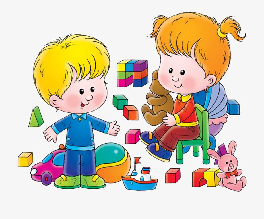 Kids playing with toys. Toddler clipart share toy