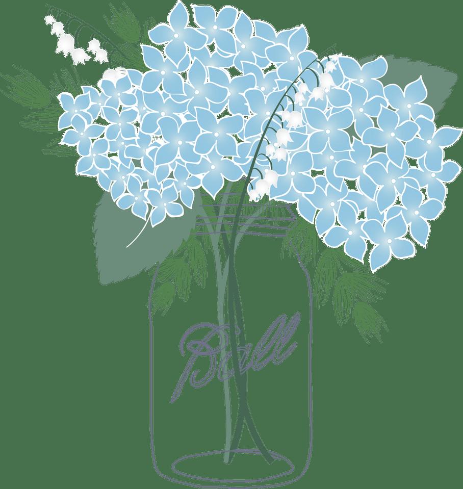 Shocking blue flower picture. Clipart flowers mason jar