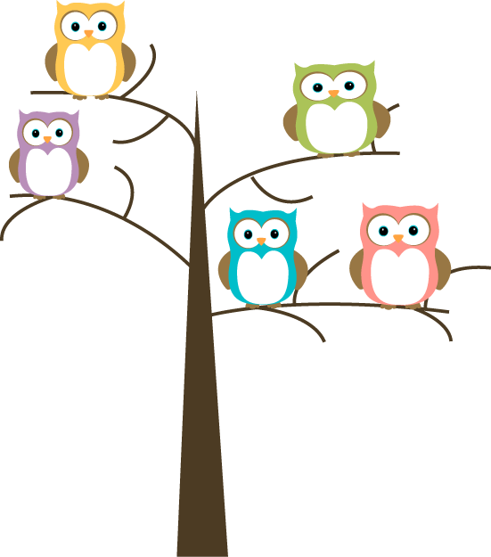 In a tree clip. Owls clipart row
