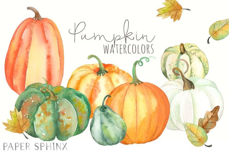 Pumpkin clipart watercolor. Pumpkins fall clip art