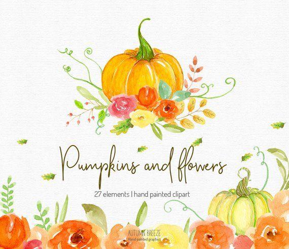 Clipart pumpkin floral. Autumn watercolor fall