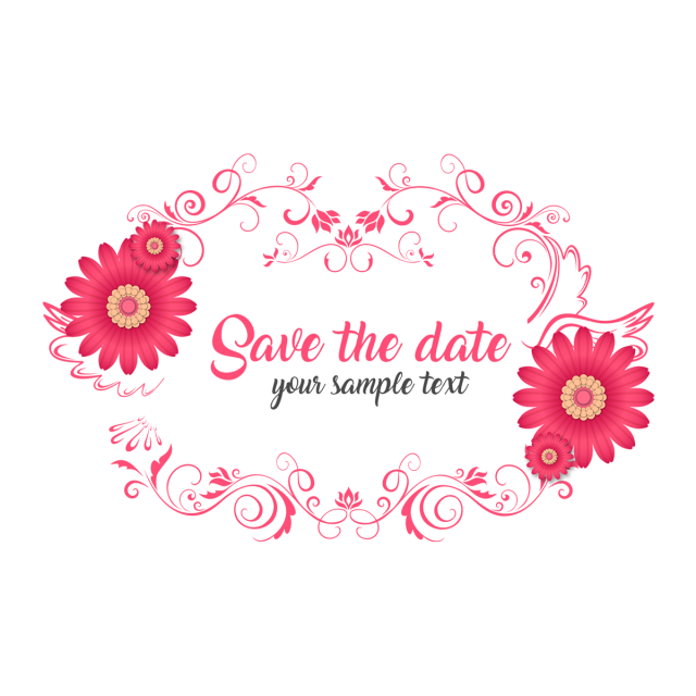 Clipart wedding ornament. Save the date floral