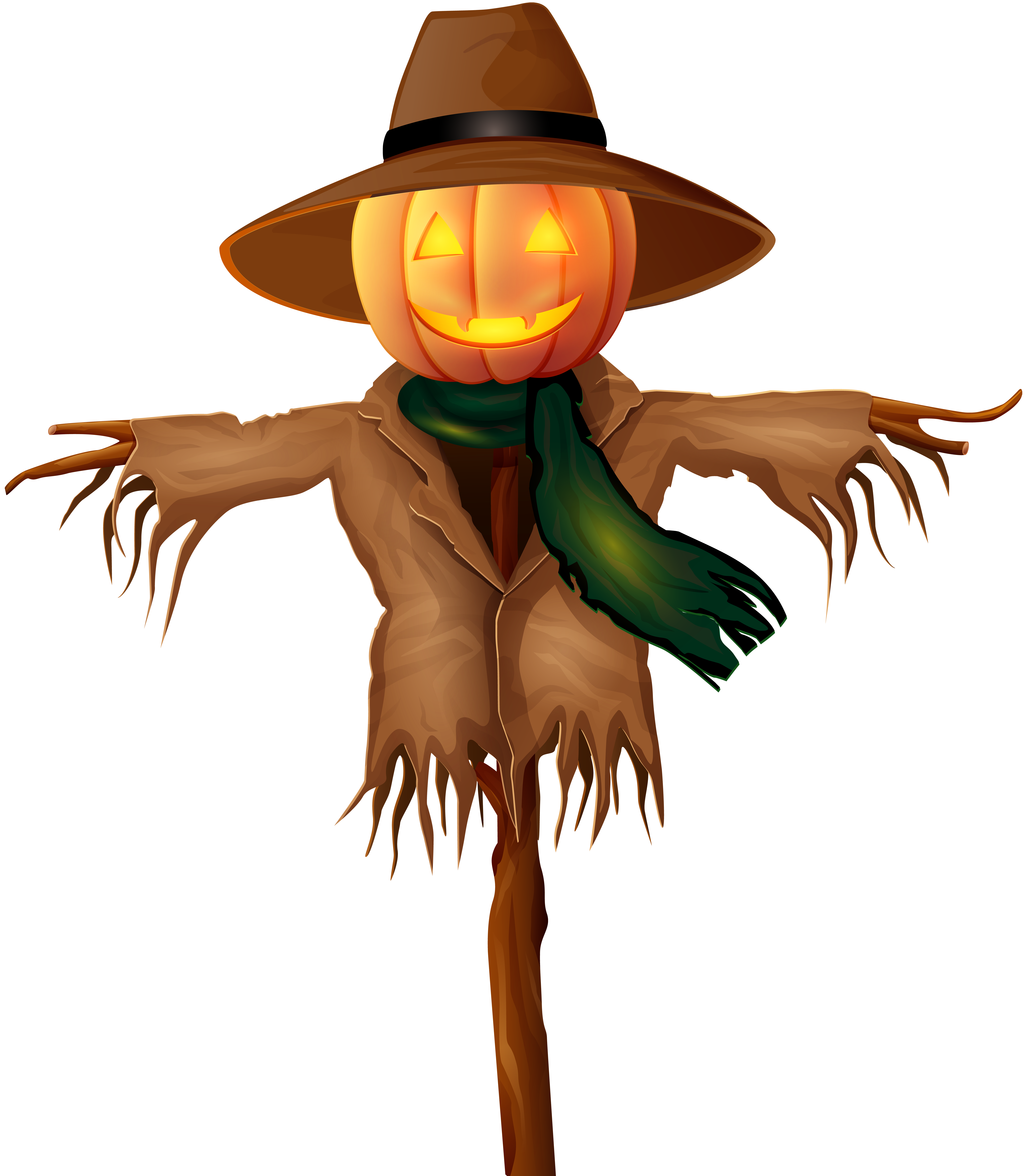 Scarecrow clipart scary. Halloween png gold clip