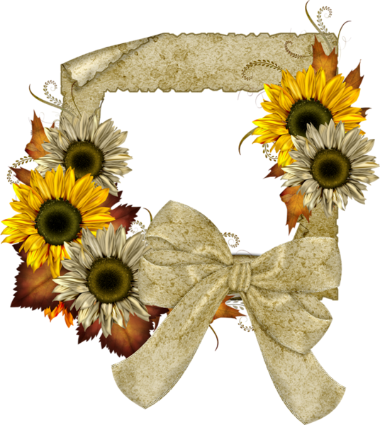 Transparent frame with sunflowers. Clipart fall sunflower