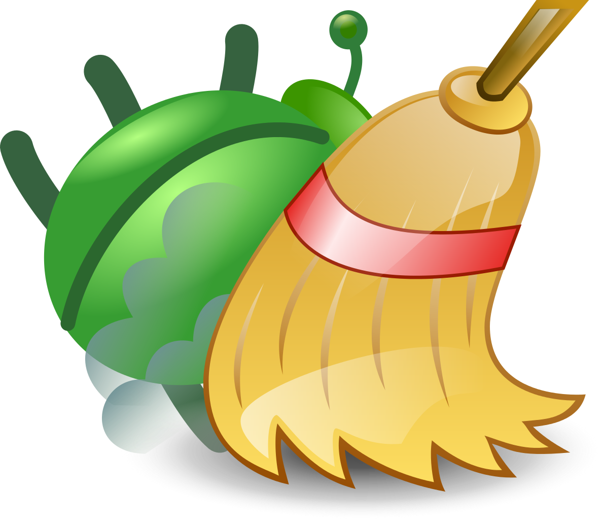 Green bug swept up. Fall clipart sweeping leave