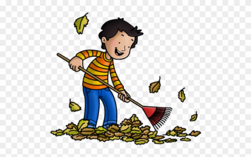 Fall clipart sweeping leave. Janitor raking leaves cartoon