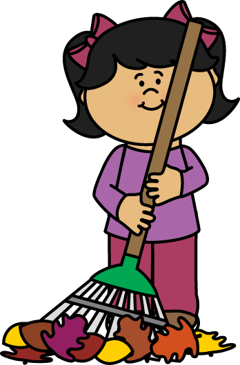 Fall clipart sweeping leave. Girl raking leaves clip
