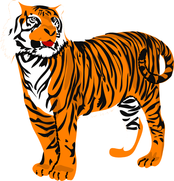 Clipart walking tiger. Clip art at clker