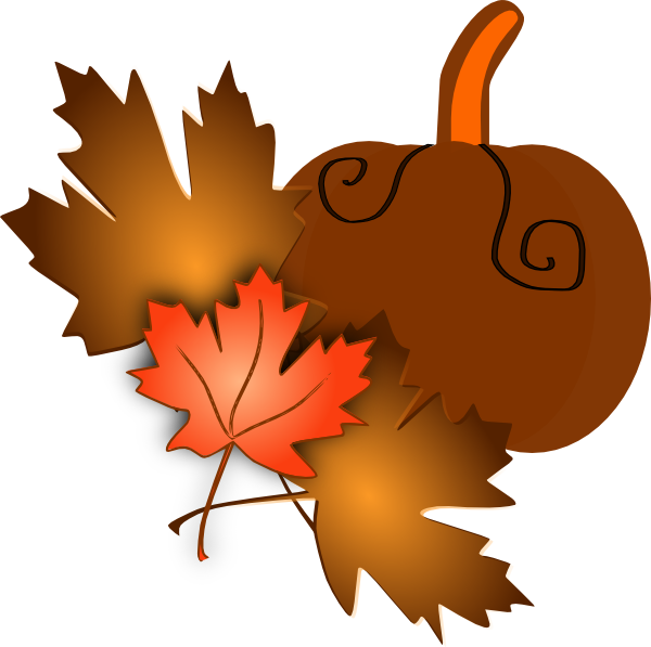 Clipart fall vector. Pumpkin with leaves clip