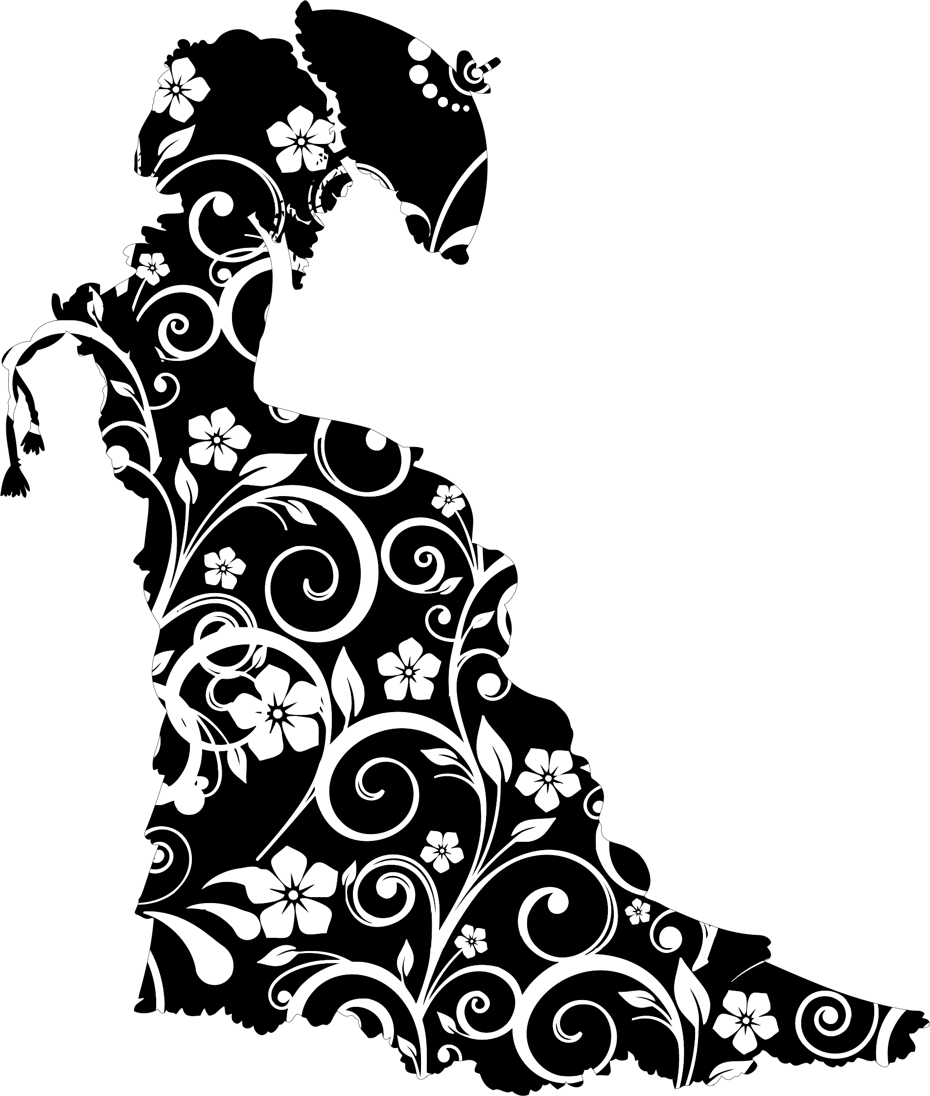 Floral victorian silhouette big. Lady clipart vintage
