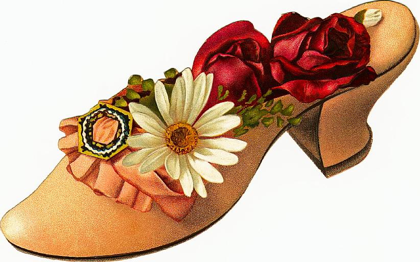 Flower clipart shoe. Free victorian