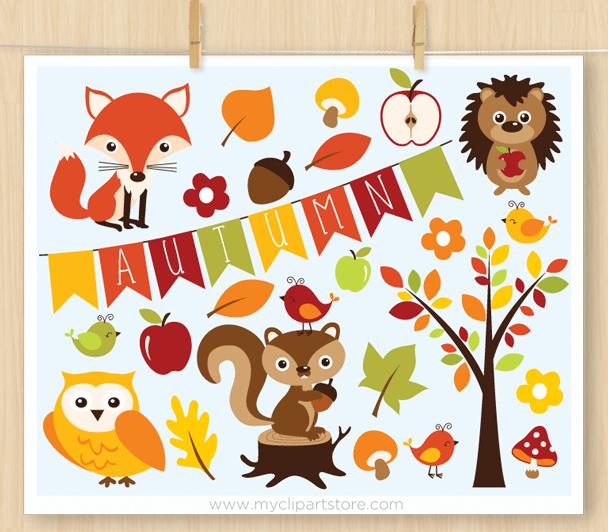 Animals . Woodland clipart autumn