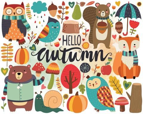 Woodland clipart cute fall animal. Autumn forest design elements