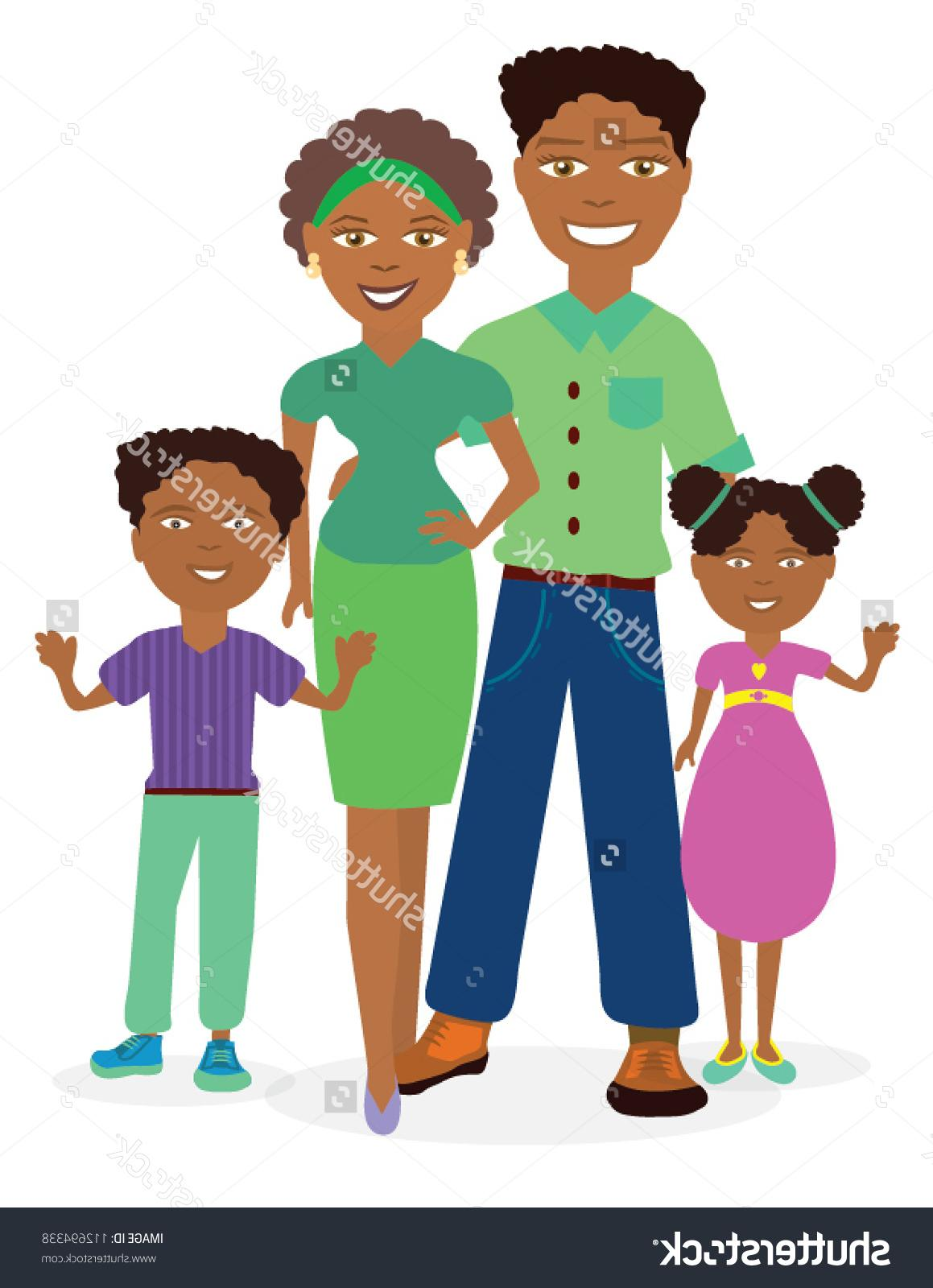 Best outline family vector. Families clipart african american