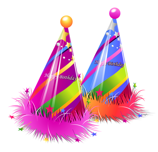 Happy birthday png party. Hats clipart bday