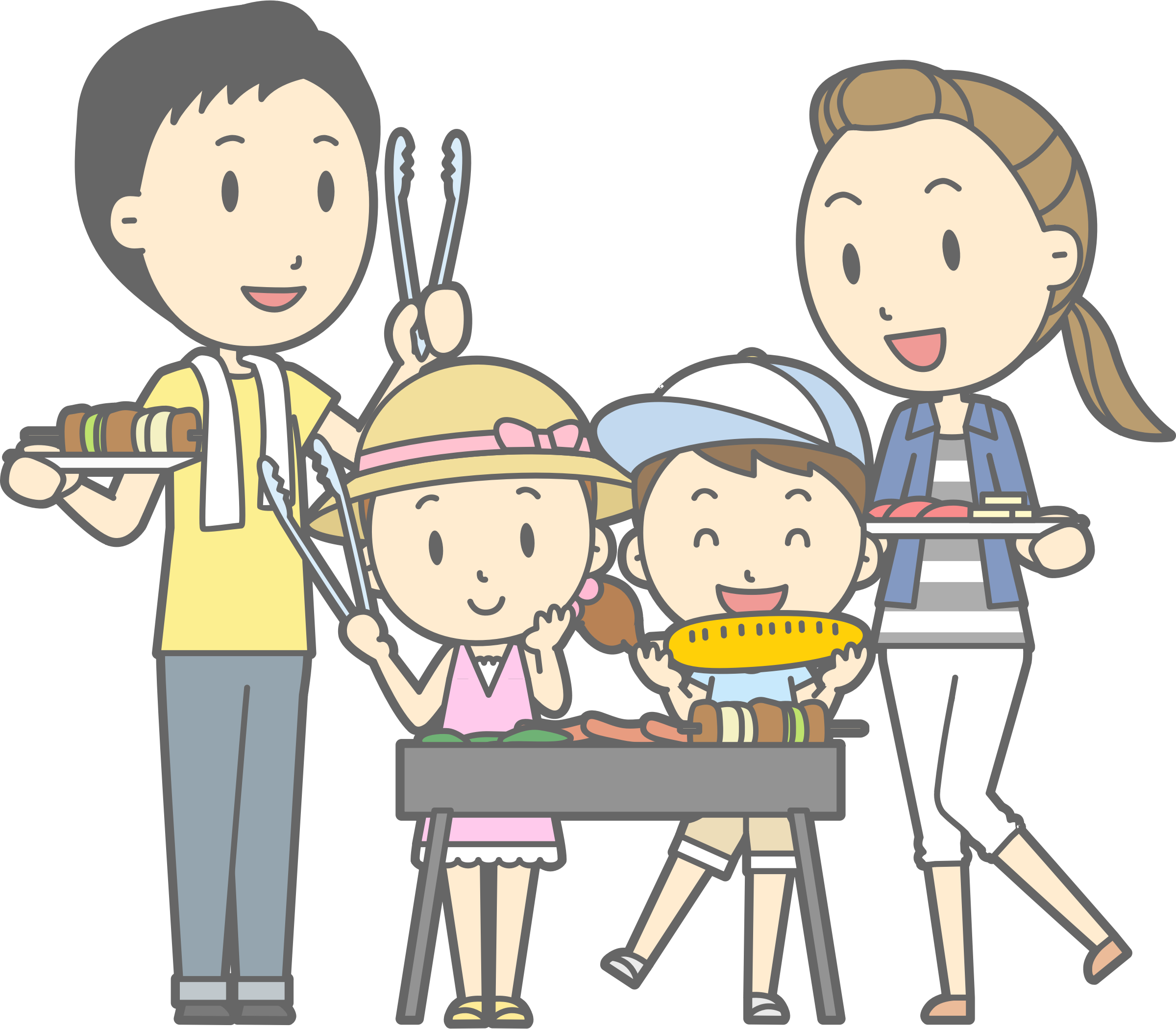 Families clipart boy. Family barbecue big image