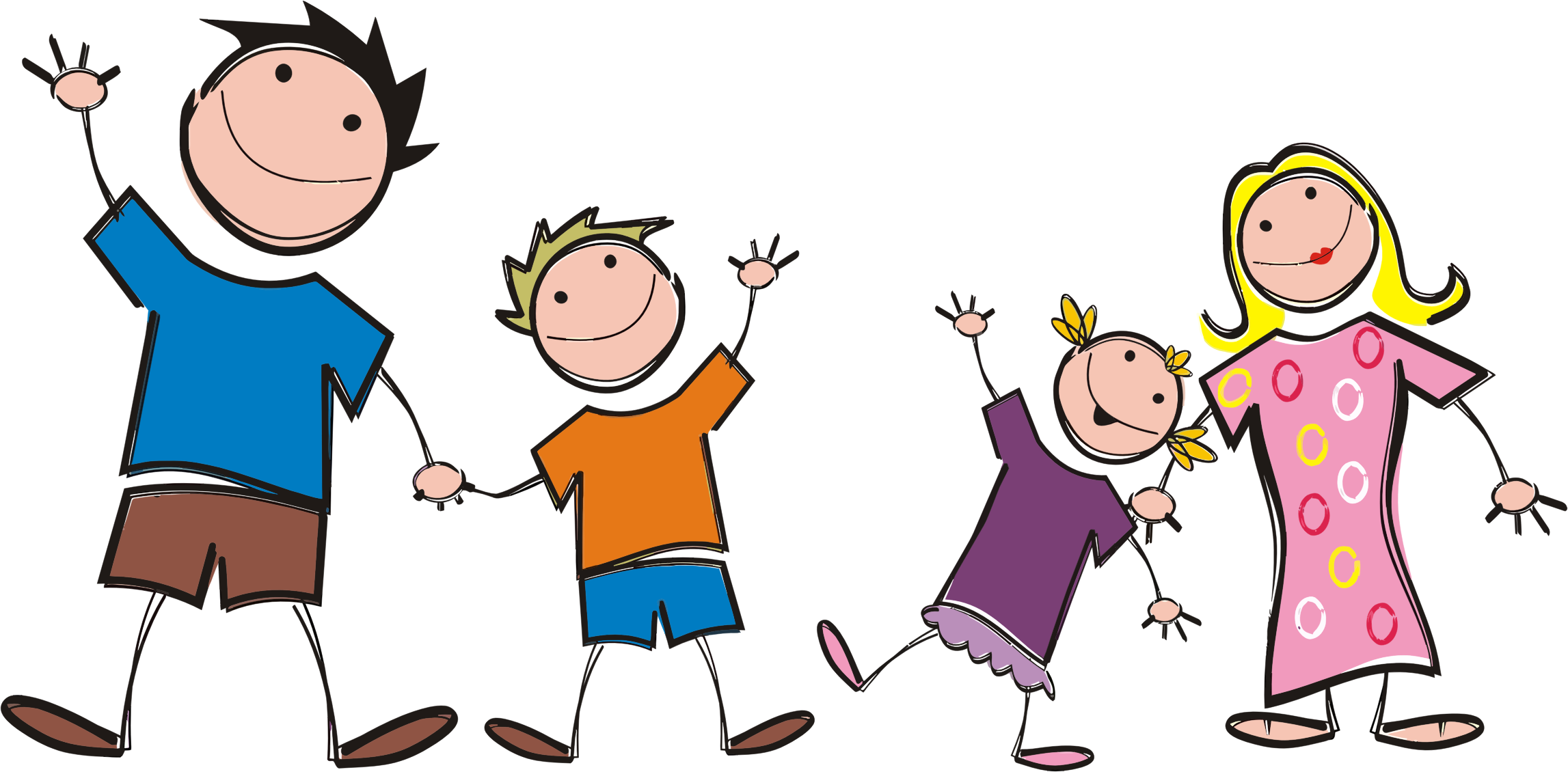Stick figure big image. Young clipart family five
