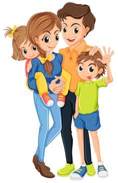 Happy of girls and. Family clipart boy