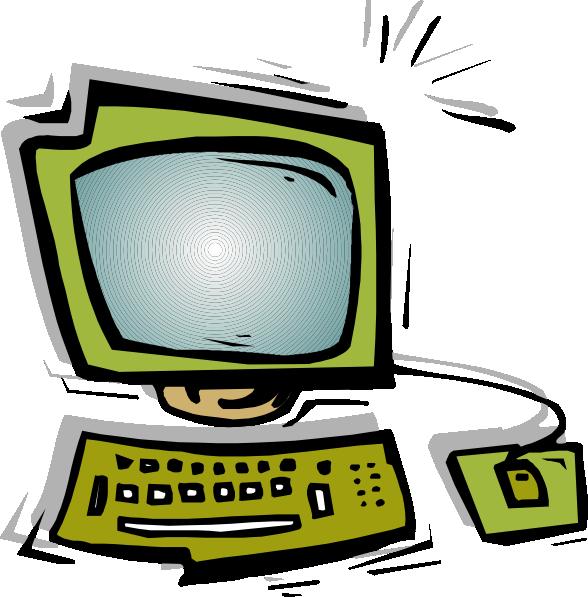 Keyboard clipart ict. Green computer clip art