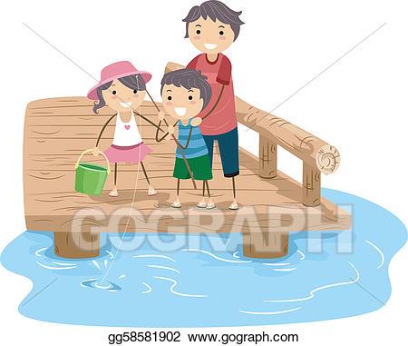 Vector illustration eps gg. Fishing clipart family fishing
