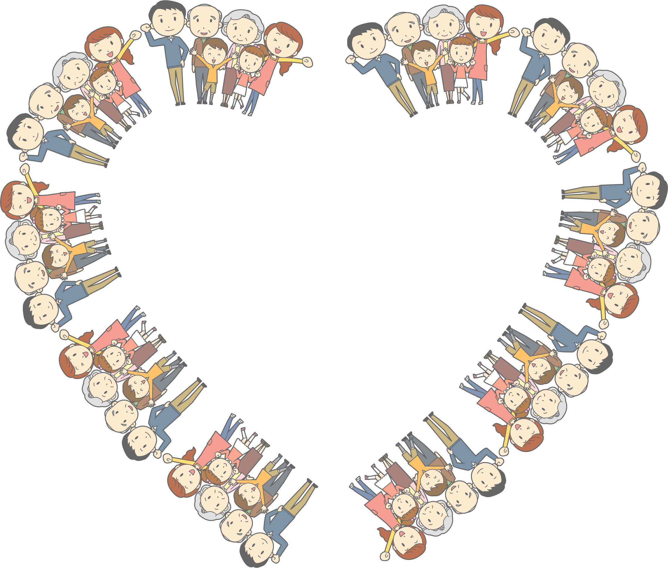 Families clipart frame. Multigenerational family heart big