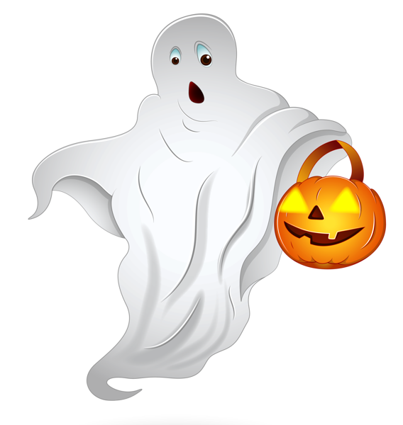 Pumpkin clipart ghost. Halloween with basket png