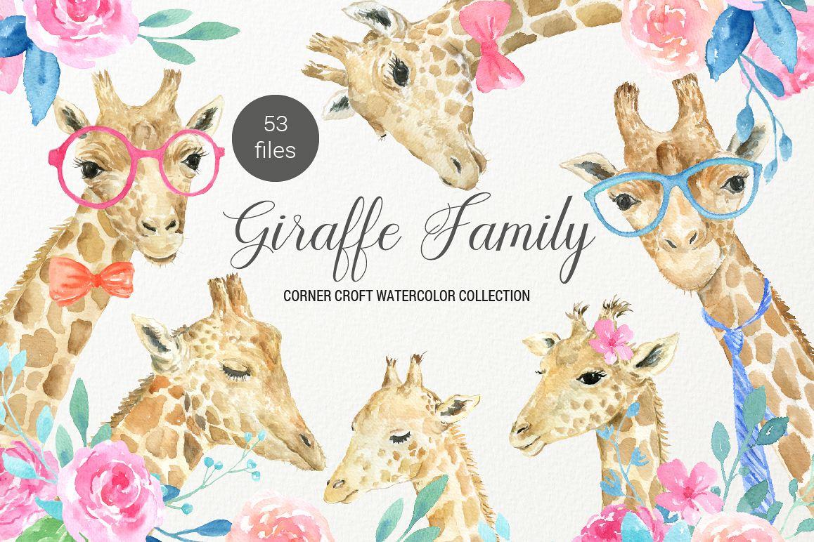 Giraffe clipart family. Watercolor portrait