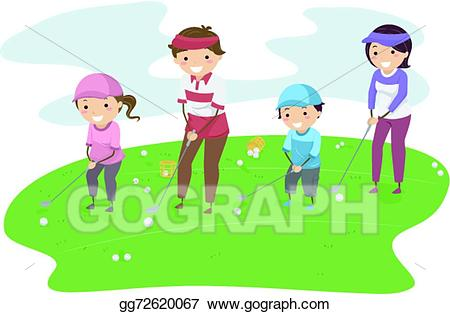Golf clipart family. Vector art stickman drawing