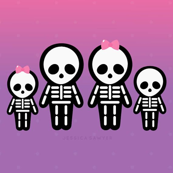 Skeleton cute drawings clip. Clipart halloween family