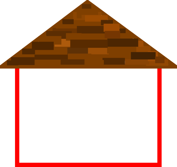 House with roof clip. Home clipart outline