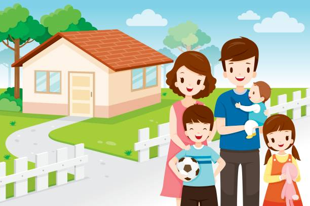 House clipart family. Home station