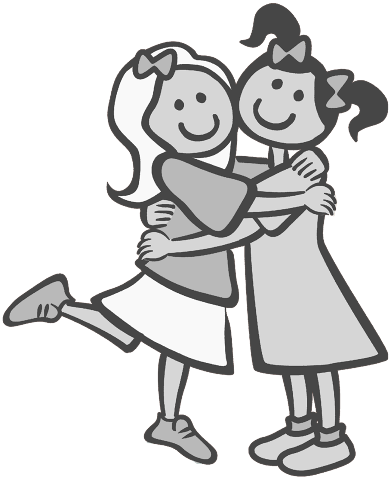 Clipart friends counter. Hugging drawing panda free