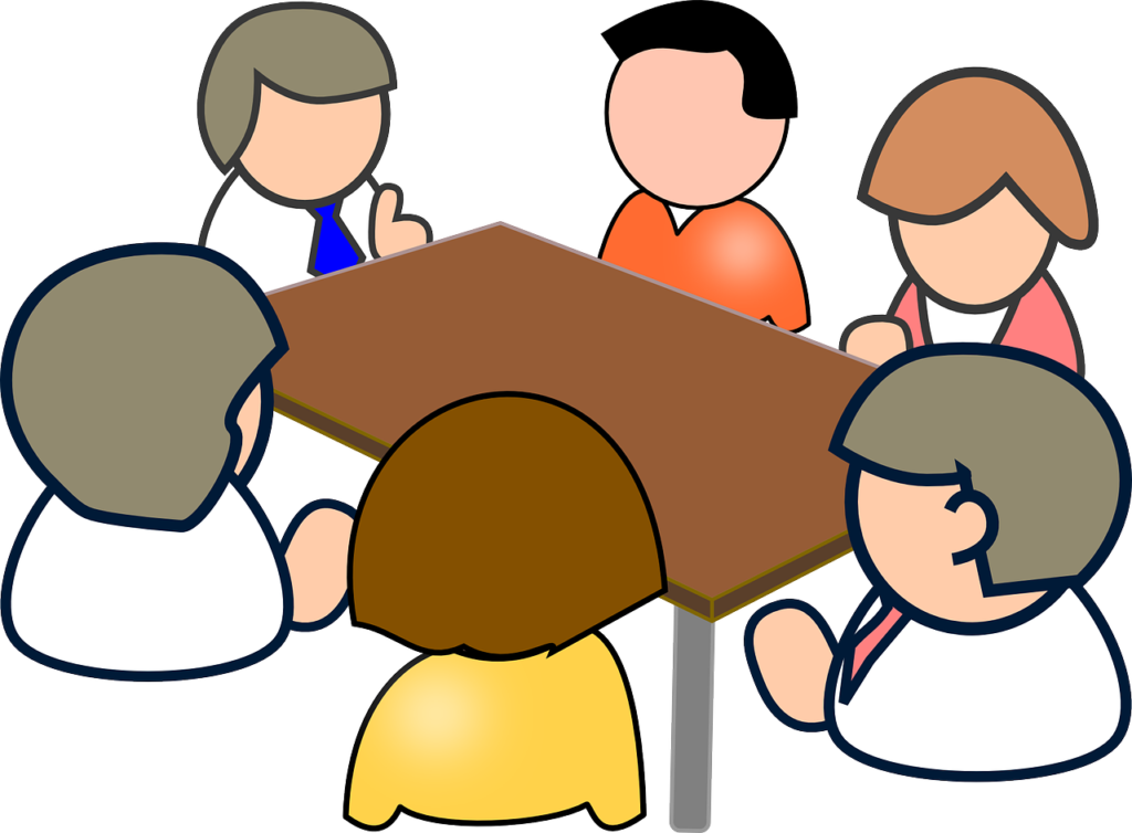 Setting up a family. Meeting clipart corporation
