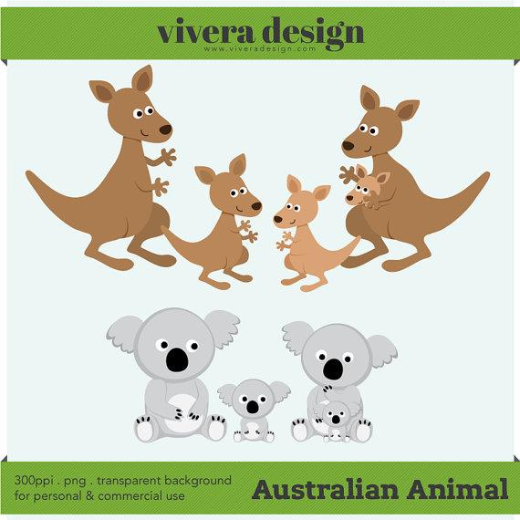 Kangaroo clipart family. Instant download australian animals