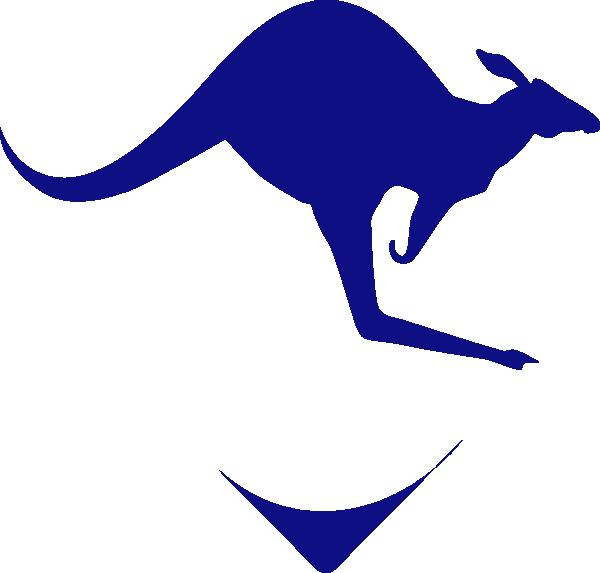 Blue clip at clker. Kangaroo clipart line art