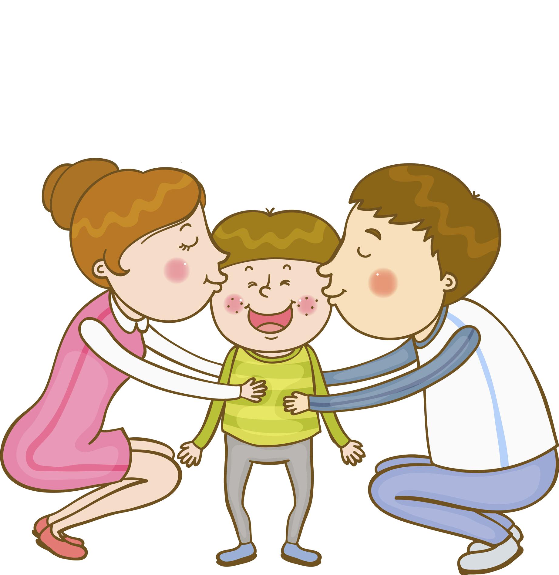 Family parent kissing scenes. Families clipart kiss