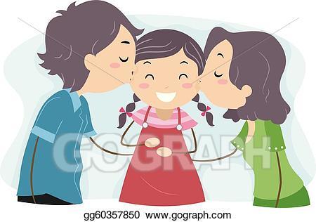 Families clipart kiss. Vector family illustration gg