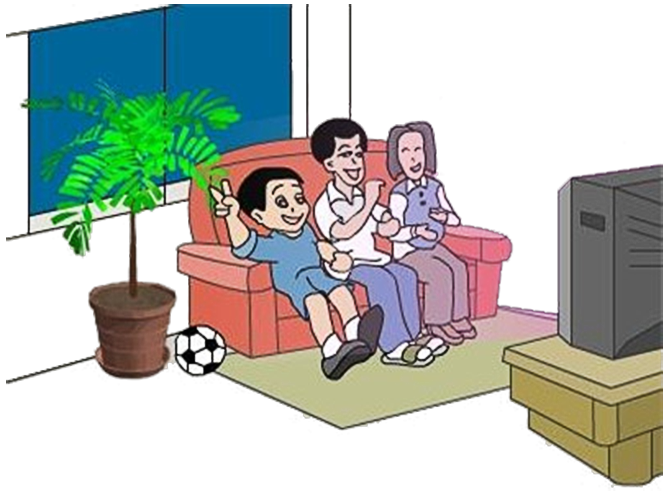 Television cartoon clip art. Clipart tv living room