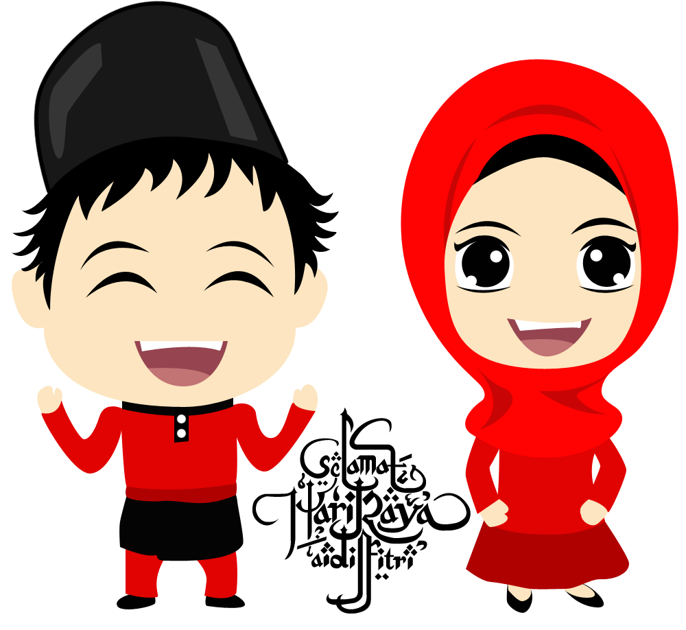 Muslim katoon pinterest eid. Family clipart muslims