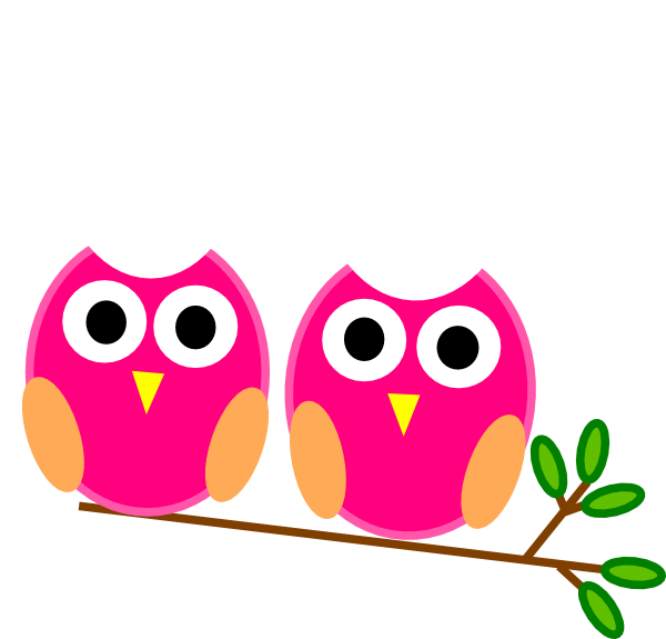 Pink owls on branch. Tree clipart owl