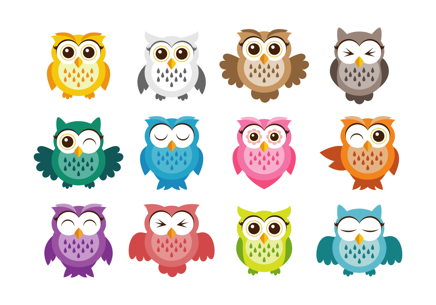 Cute vector icons vectores. Foot clipart owl
