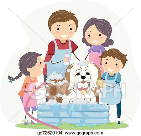 Vector stock stickman bath. Pet clipart family pet