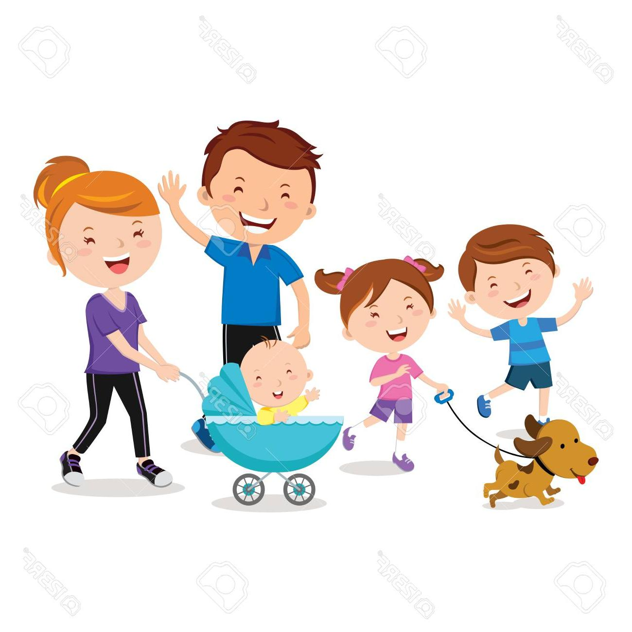 Top with clip art. Dog clipart family