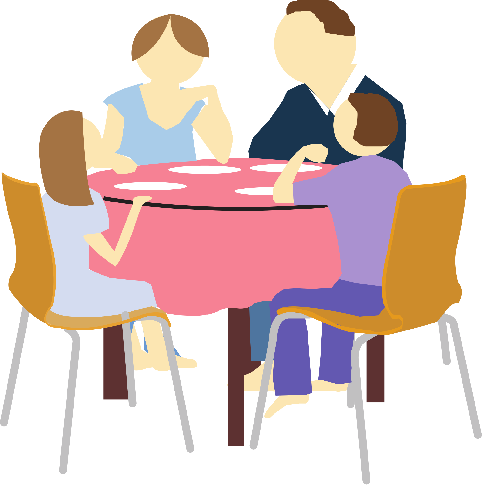 Family eating group at. Dinner clipart ate