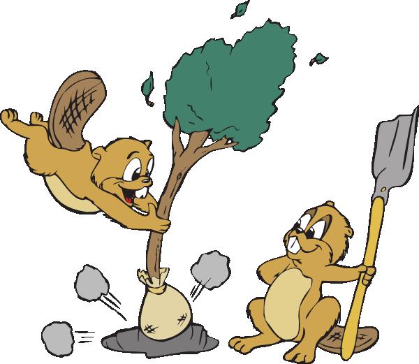 Beavers a clip art. Dig clipart tree planting