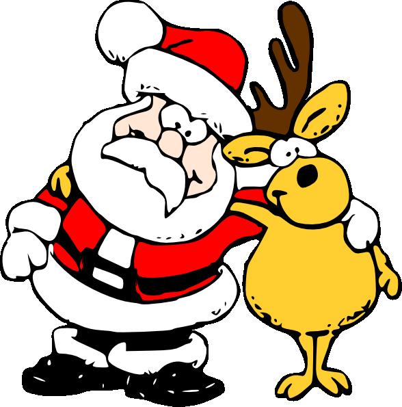 Santa and clip art. Clipart reindeer sleigh