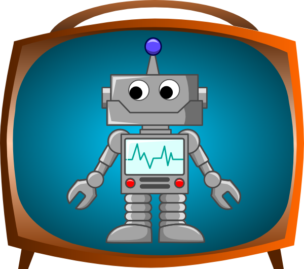 Robot on tv clip. Television clipart tele